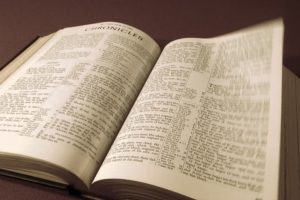 Photograph of an open bible
